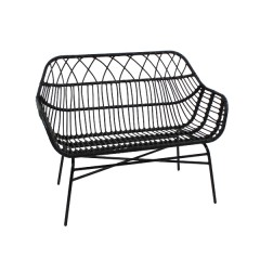 BENCH PE RATTAN BLACK OUTDOOR
