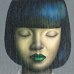 GIRL WITH GREEN LIP PAINT 140x140