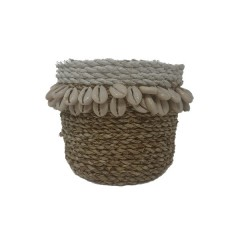 BASKET WITH SHELL SMALL NATURAL WHITE