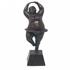 BRONZ BALLET LADY ON STAND