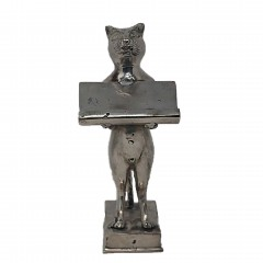 CAT CARD TRAY BRASS SILVER COLORED