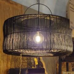 BLACK CYL LAMP RATTAN XL
