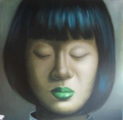 ASIAN GIRL CLOSED EYE WITH GREEN LIP