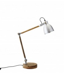 Wood Table Lamp with Aluminium Shade