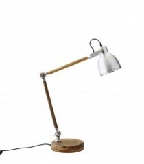 Wood Table Lamp with Aluminium Shade     - TABLE LAMPS