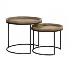 Side Tables Copan Metal Blackand Wood     - CAFE, SIDETABLES